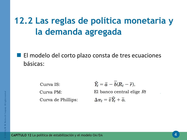 4 © 2008 by W. W. Norton & Company. All rights reserved CAPÍTULO 12 La política de estabilización y el modelo OA/DA 12.2 Las reglas de política moneta