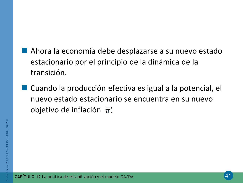 41 © 2008 by W. W. Norton & Company. All rights reserved CAPÍTULO 12 La política de estabilización y el modelo OA/DA Ahora la economía debe desplazars
