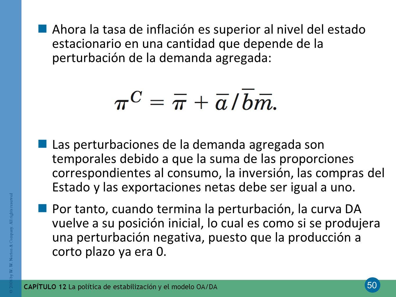 50 © 2008 by W. W. Norton & Company. All rights reserved CAPÍTULO 12 La política de estabilización y el modelo OA/DA Ahora la tasa de inflación es sup