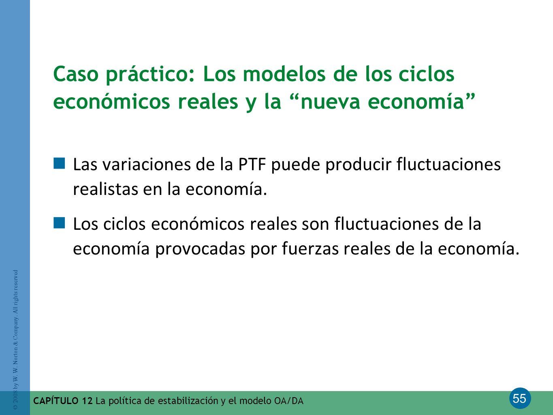 55 © 2008 by W. W. Norton & Company. All rights reserved CAPÍTULO 12 La política de estabilización y el modelo OA/DA Caso práctico: Los modelos de los