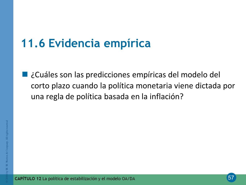 57 © 2008 by W. W. Norton & Company. All rights reserved CAPÍTULO 12 La política de estabilización y el modelo OA/DA 11.6 Evidencia empírica ¿Cuáles s
