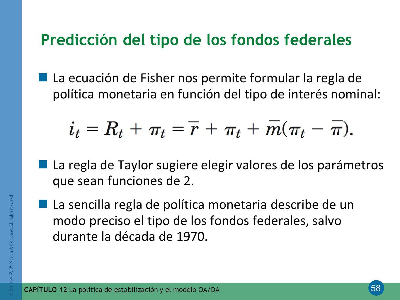 58 © 2008 by W. W. Norton & Company. All rights reserved CAPÍTULO 12 La política de estabilización y el modelo OA/DA Predicción del tipo de los fondos