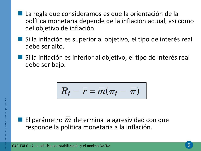 6 © 2008 by W. W. Norton & Company. All rights reserved CAPÍTULO 12 La política de estabilización y el modelo OA/DA La regla que consideramos es que l