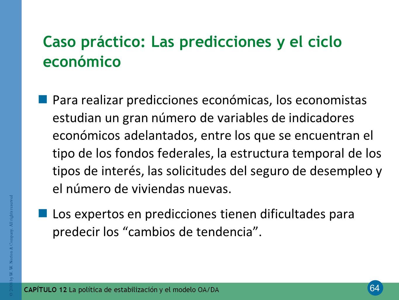 64 © 2008 by W. W. Norton & Company. All rights reserved CAPÍTULO 12 La política de estabilización y el modelo OA/DA Caso práctico: Las predicciones y