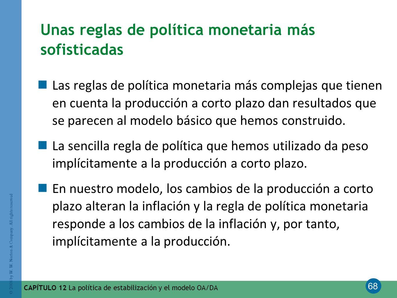 68 © 2008 by W. W. Norton & Company. All rights reserved CAPÍTULO 12 La política de estabilización y el modelo OA/DA Unas reglas de política monetaria