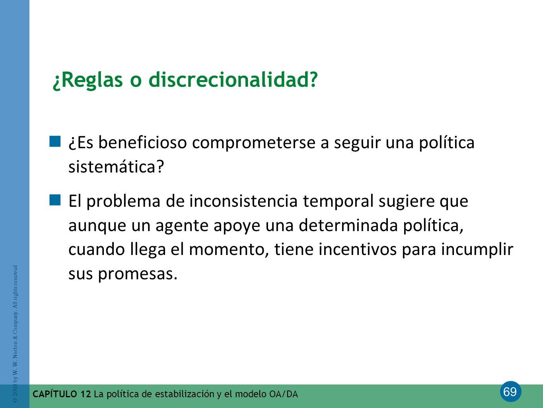 69 © 2008 by W. W. Norton & Company. All rights reserved CAPÍTULO 12 La política de estabilización y el modelo OA/DA ¿Reglas o discrecionalidad? ¿Es b