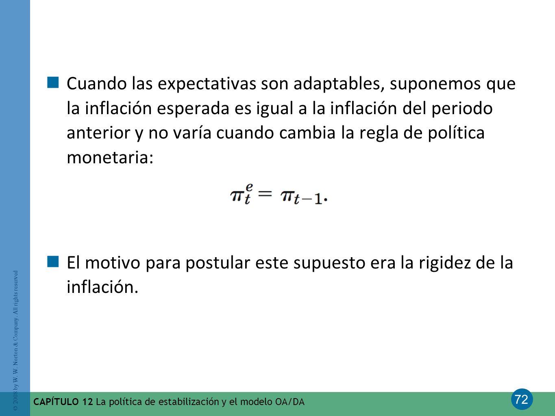 72 © 2008 by W. W. Norton & Company. All rights reserved CAPÍTULO 12 La política de estabilización y el modelo OA/DA Cuando las expectativas son adapt