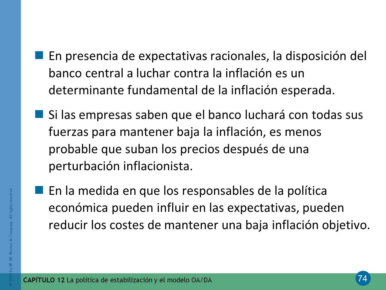 74 © 2008 by W. W. Norton & Company. All rights reserved CAPÍTULO 12 La política de estabilización y el modelo OA/DA En presencia de expectativas raci