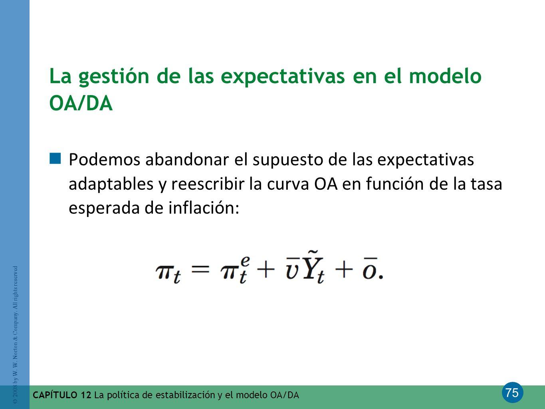 75 © 2008 by W. W. Norton & Company. All rights reserved CAPÍTULO 12 La política de estabilización y el modelo OA/DA La gestión de las expectativas en