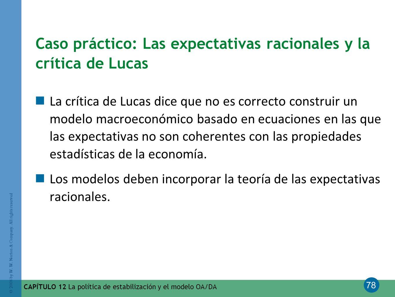 78 © 2008 by W. W. Norton & Company. All rights reserved CAPÍTULO 12 La política de estabilización y el modelo OA/DA Caso práctico: Las expectativas r