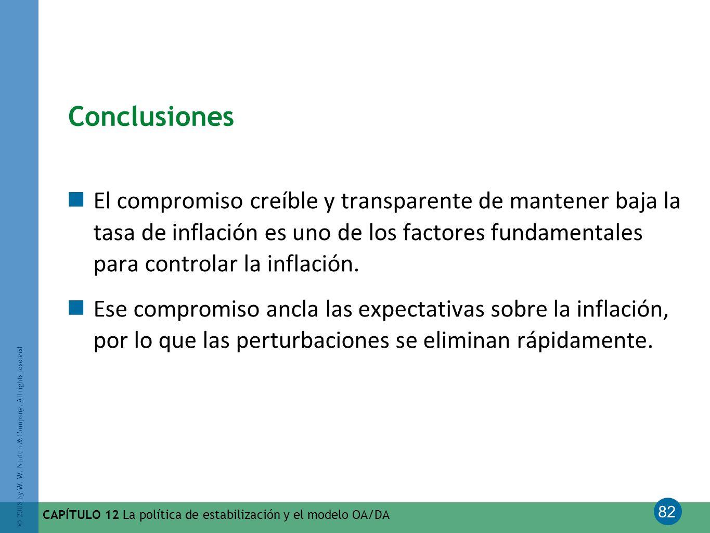 82 © 2008 by W. W. Norton & Company. All rights reserved CAPÍTULO 12 La política de estabilización y el modelo OA/DA Conclusiones El compromiso creíbl
