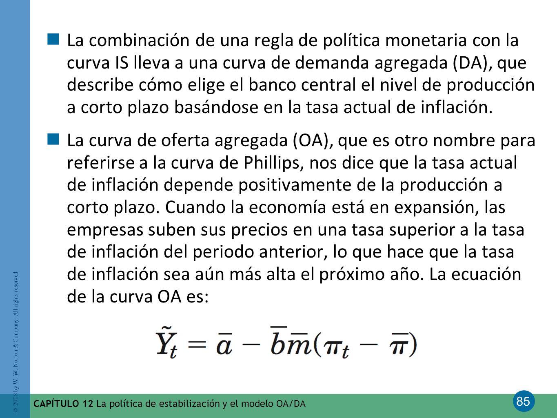 85 © 2008 by W. W. Norton & Company. All rights reserved CAPÍTULO 12 La política de estabilización y el modelo OA/DA La combinación de una regla de po