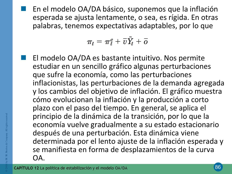 86 © 2008 by W. W. Norton & Company. All rights reserved CAPÍTULO 12 La política de estabilización y el modelo OA/DA En el modelo OA/DA básico, supone