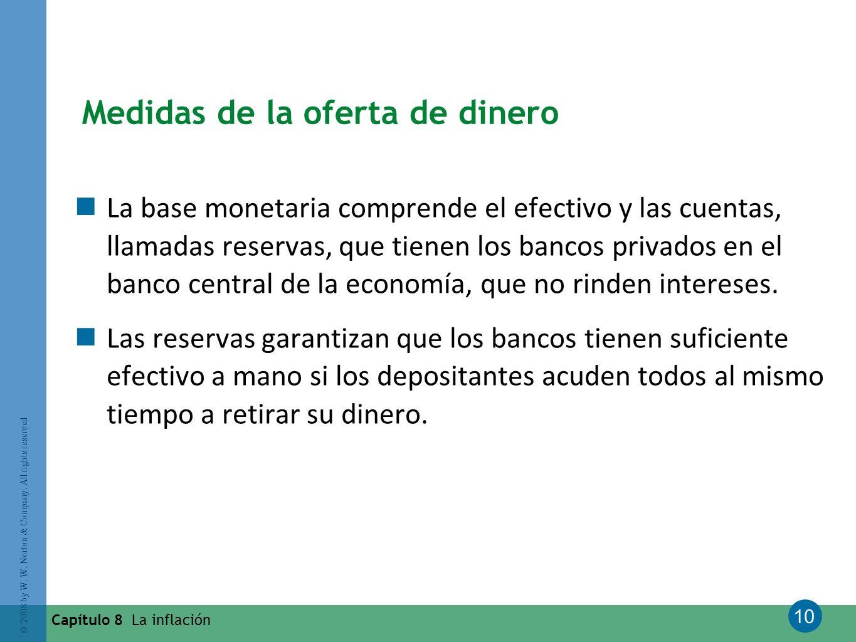 10 © 2008 by W. W. Norton & Company. All rights reserved Capítulo 8 La inflación Medidas de la oferta de dinero La base monetaria comprende el efectiv