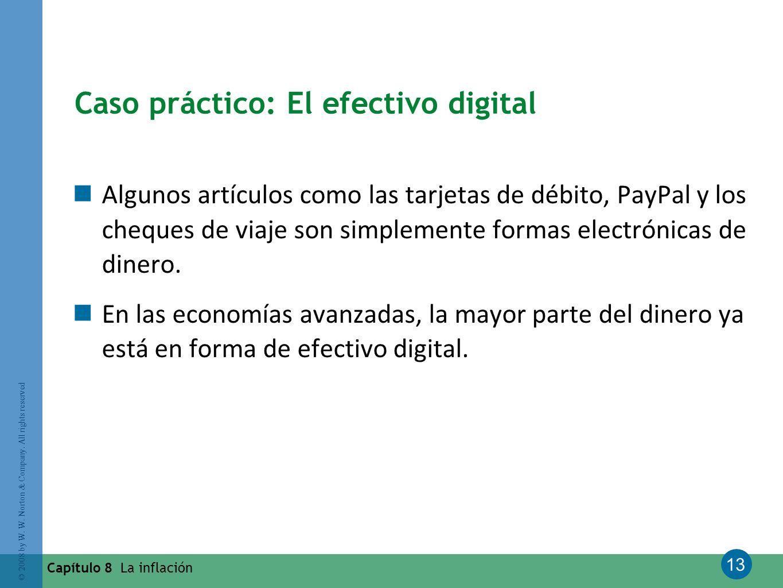 13 © 2008 by W. W. Norton & Company. All rights reserved Capítulo 8 La inflación Caso práctico: El efectivo digital Algunos artículos como las tarjeta