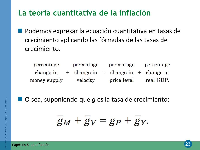 23 © 2008 by W. W. Norton & Company. All rights reserved Capítulo 8 La inflación La teoría cuantitativa de la inflación Podemos expresar la ecuación c