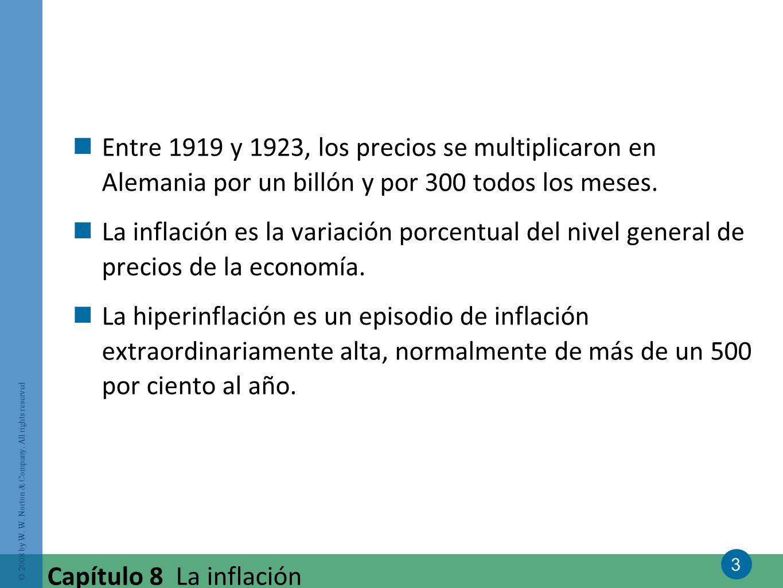 3 © 2008 by W. W. Norton & Company. All rights reserved Capítulo 8 La inflación Entre 1919 y 1923, los precios se multiplicaron en Alemania por un bil