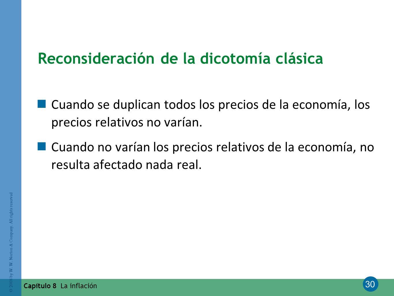 30 © 2008 by W. W. Norton & Company. All rights reserved Capítulo 8 La inflación Reconsideración de la dicotomía clásica Cuando se duplican todos los