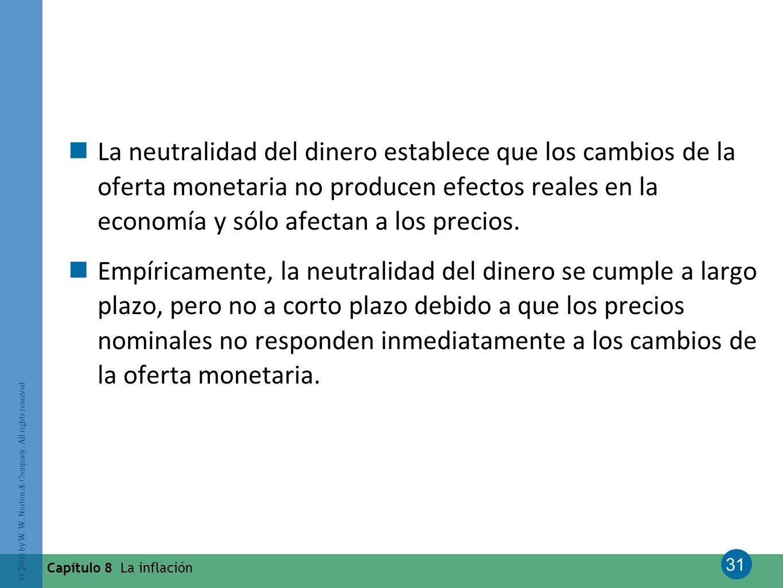 31 © 2008 by W. W. Norton & Company. All rights reserved Capítulo 8 La inflación La neutralidad del dinero establece que los cambios de la oferta mone