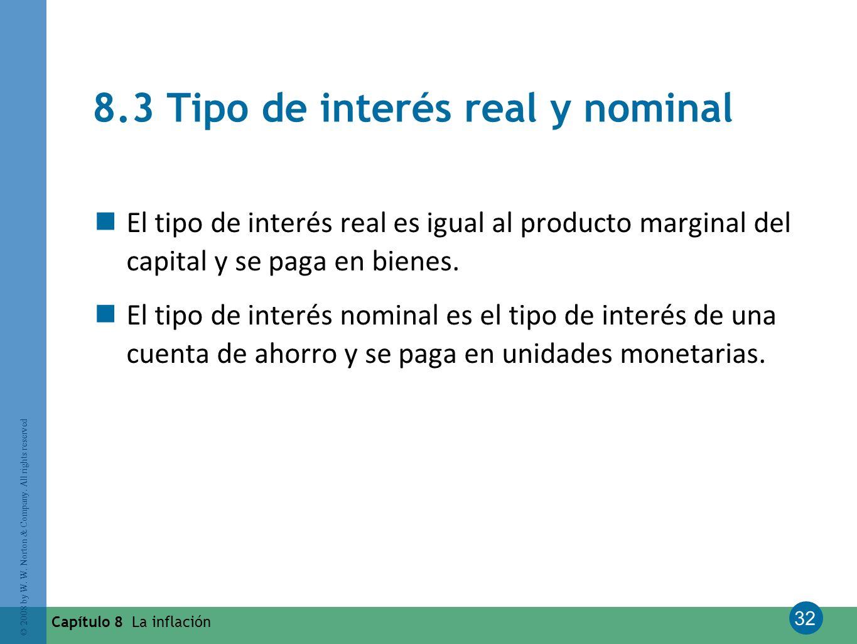 32 © 2008 by W. W. Norton & Company. All rights reserved Capítulo 8 La inflación 8.3 Tipo de interés real y nominal El tipo de interés real es igual a