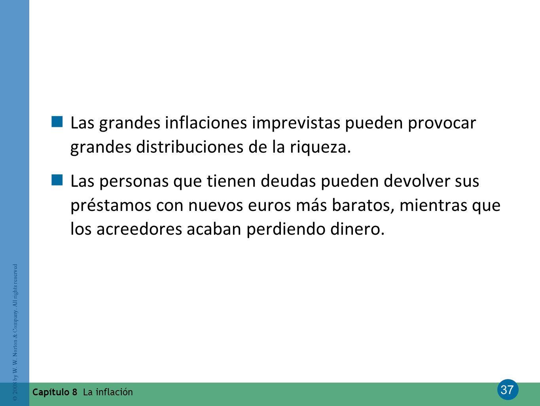 37 © 2008 by W. W. Norton & Company. All rights reserved Capítulo 8 La inflación Las grandes inflaciones imprevistas pueden provocar grandes distribuc