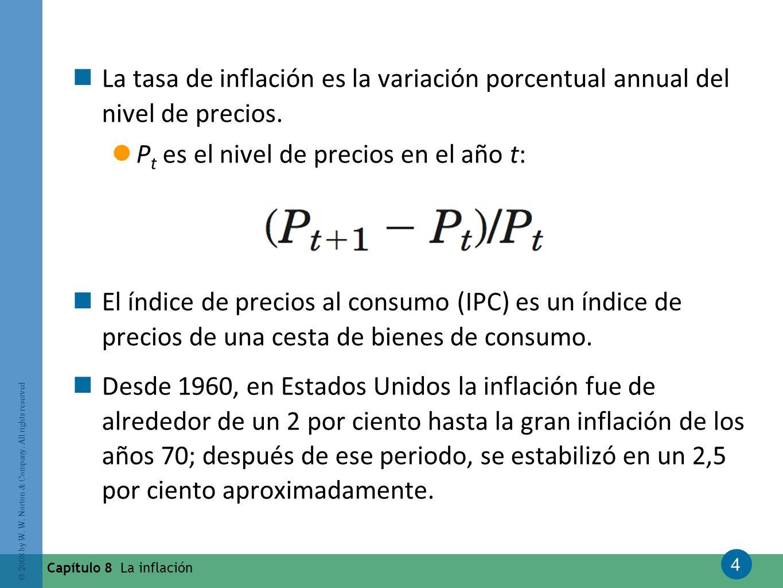 4 © 2008 by W. W. Norton & Company. All rights reserved Capítulo 8 La inflación La tasa de inflación es la variación porcentual annual del nivel de pr