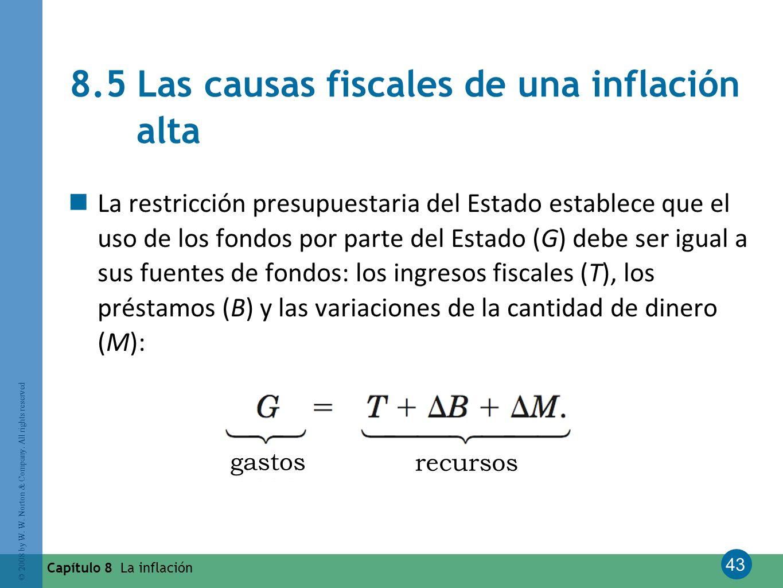 43 © 2008 by W. W. Norton & Company. All rights reserved Capítulo 8 La inflación 8.5 Las causas fiscales de una inflación alta La restricción presupue