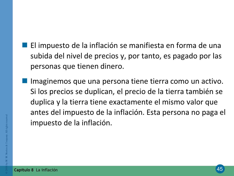 45 © 2008 by W. W. Norton & Company. All rights reserved Capítulo 8 La inflación El impuesto de la inflación se manifiesta en forma de una subida del