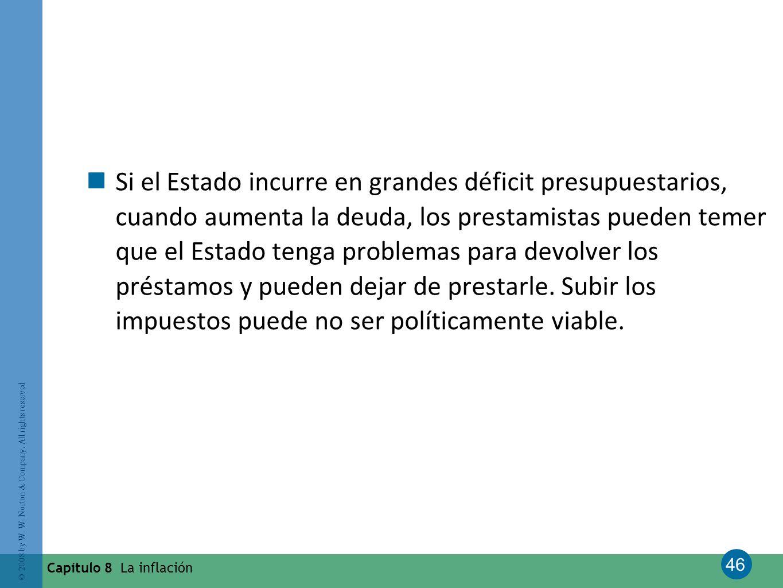 46 © 2008 by W. W. Norton & Company. All rights reserved Capítulo 8 La inflación Si el Estado incurre en grandes déficit presupuestarios, cuando aumen