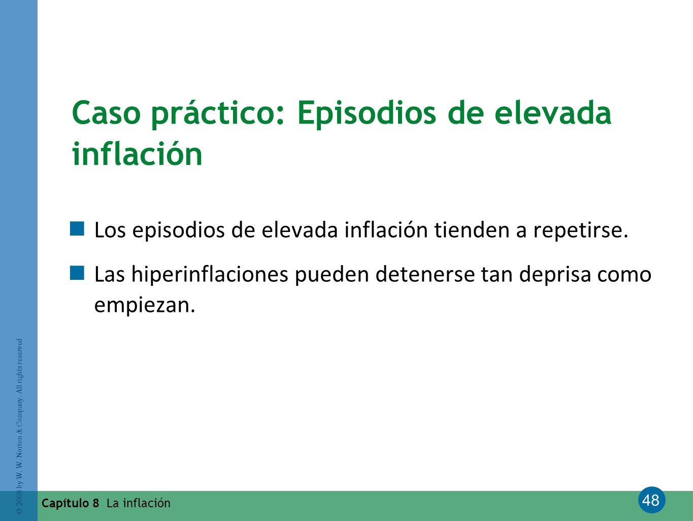 48 © 2008 by W. W. Norton & Company. All rights reserved Capítulo 8 La inflación Caso práctico: Episodios de elevada inflación Los episodios de elevad