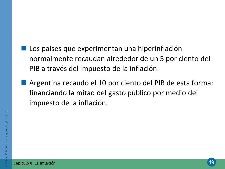 49 © 2008 by W. W. Norton & Company. All rights reserved Capítulo 8 La inflación Los países que experimentan una hiperinflación normalmente recaudan a