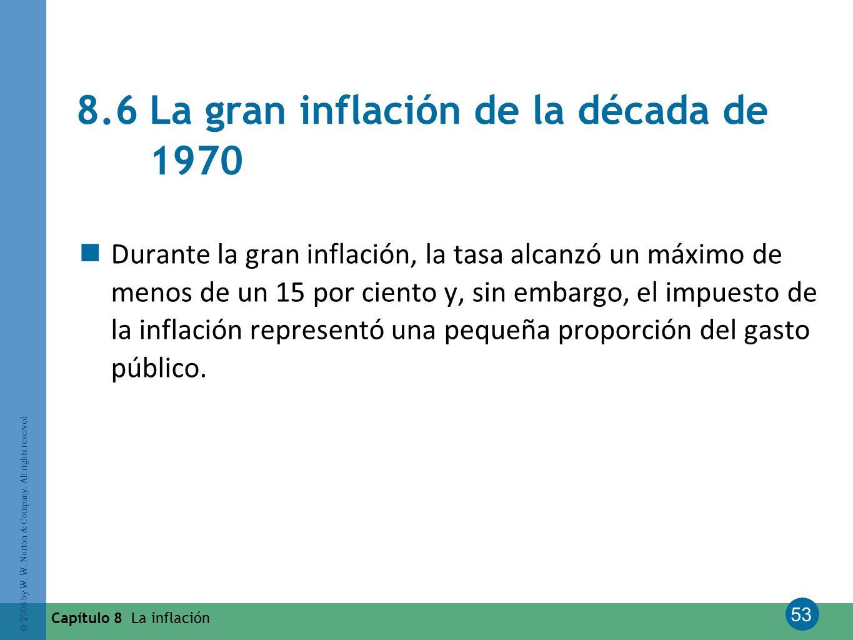 53 © 2008 by W. W. Norton & Company. All rights reserved Capítulo 8 La inflación 8.6 La gran inflación de la década de 1970 Durante la gran inflación,