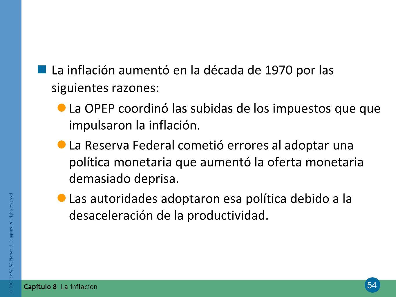 54 © 2008 by W. W. Norton & Company. All rights reserved Capítulo 8 La inflación La inflación aumentó en la década de 1970 por las siguientes razones: