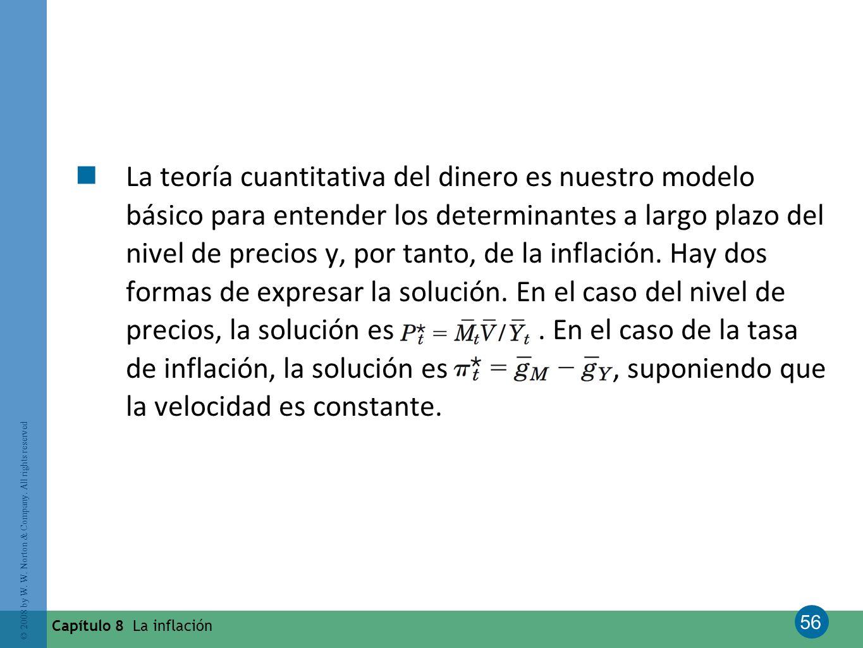 56 © 2008 by W. W. Norton & Company. All rights reserved Capítulo 8 La inflación La teoría cuantitativa del dinero es nuestro modelo básico para enten