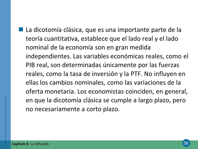 58 © 2008 by W. W. Norton & Company. All rights reserved Capítulo 8 La inflación La dicotomía clásica, que es una importante parte de la teoría cuanti