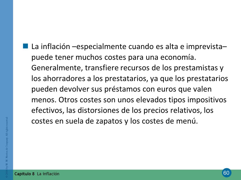60 © 2008 by W. W. Norton & Company. All rights reserved Capítulo 8 La inflación La inflación –especialmente cuando es alta e imprevista– puede tener