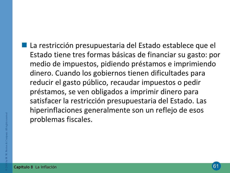 61 © 2008 by W. W. Norton & Company. All rights reserved Capítulo 8 La inflación La restricción presupuestaria del Estado establece que el Estado tien