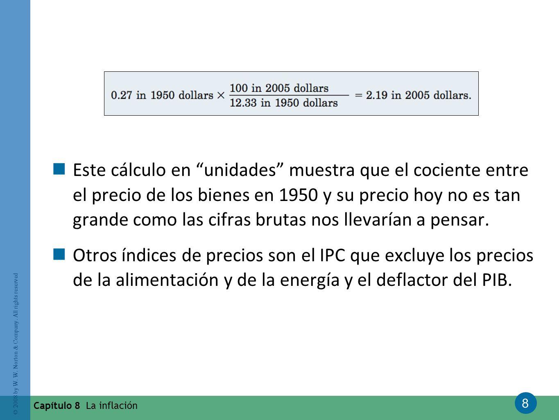 8 © 2008 by W. W. Norton & Company. All rights reserved Capítulo 8 La inflación Este cálculo en unidades muestra que el cociente entre el precio de lo