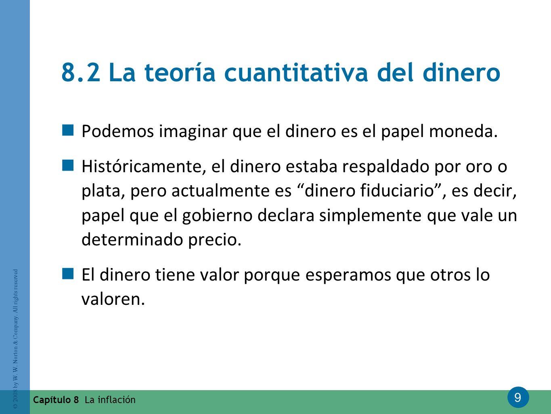 9 © 2008 by W. W. Norton & Company. All rights reserved Capítulo 8 La inflación 8.2 La teoría cuantitativa del dinero Podemos imaginar que el dinero e