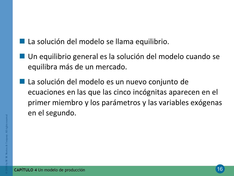 16 © 2008 by W. W. Norton & Company. All rights reserved CAPÍTULO 4 Un modelo de producción La solución del modelo se llama equilibrio. Un equilibrio