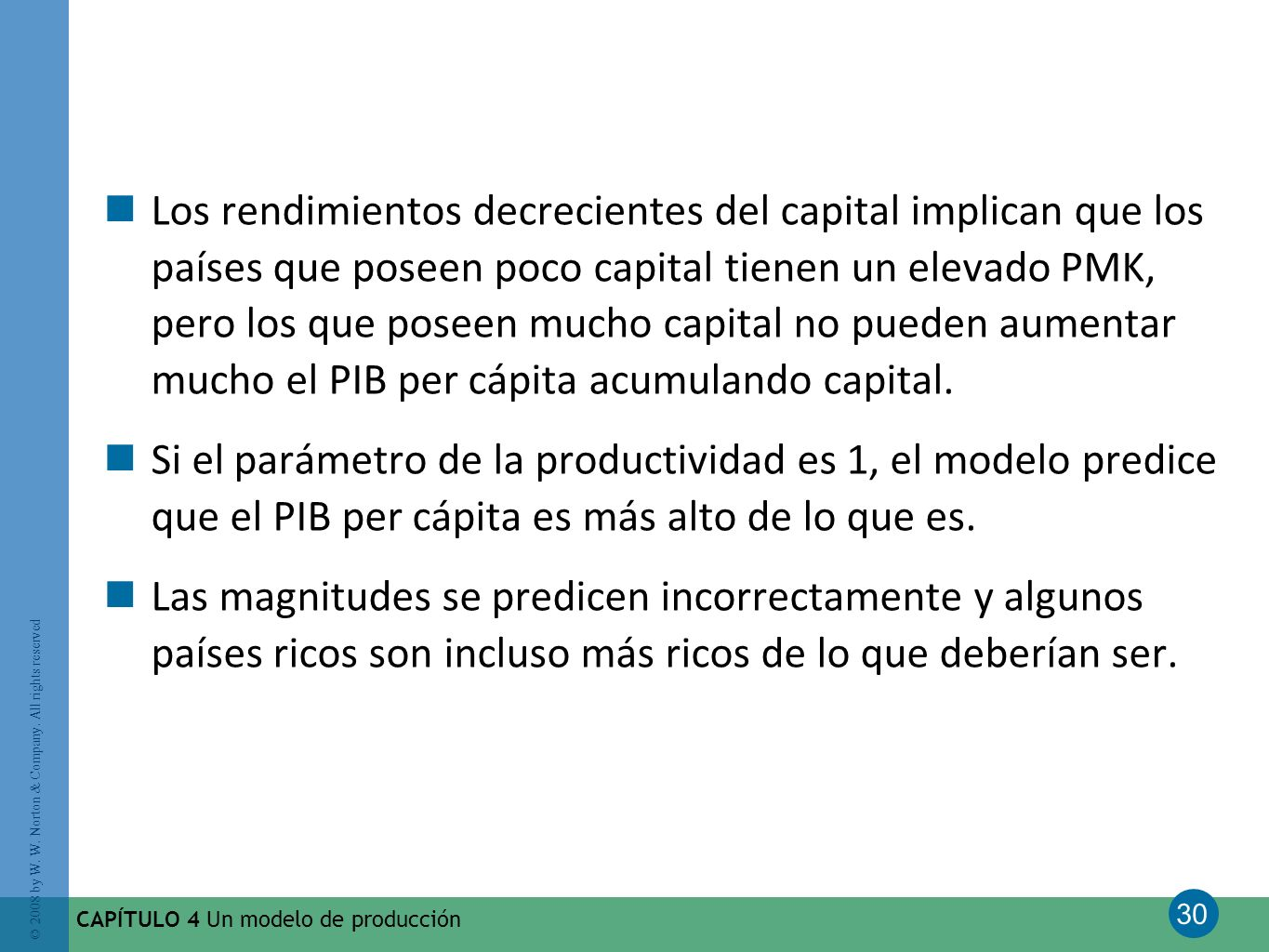 30 © 2008 by W. W. Norton & Company. All rights reserved CAPÍTULO 4 Un modelo de producción Los rendimientos decrecientes del capital implican que los