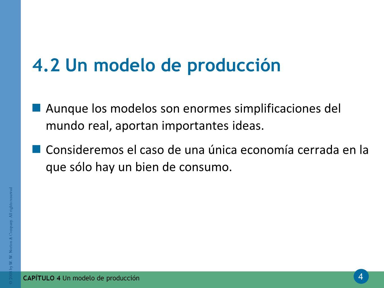 4 © 2008 by W. W. Norton & Company. All rights reserved CAPÍTULO 4 Un modelo de producción 4.2 Un modelo de producción Aunque los modelos son enormes