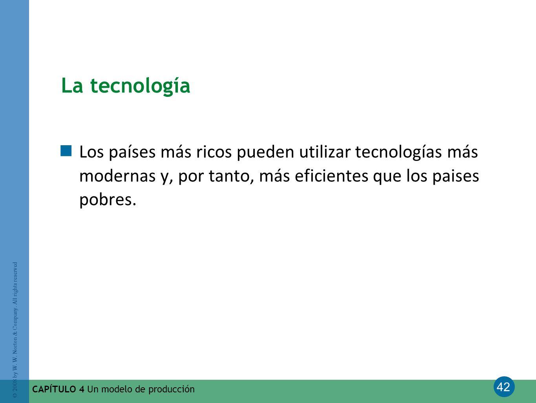 42 © 2008 by W. W. Norton & Company. All rights reserved CAPÍTULO 4 Un modelo de producción La tecnología Los países más ricos pueden utilizar tecnolo