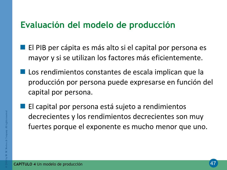 47 © 2008 by W. W. Norton & Company. All rights reserved CAPÍTULO 4 Un modelo de producción Evaluación del modelo de producción El PIB per cápita es m