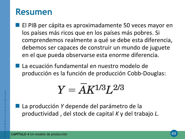 49 © 2008 by W. W. Norton & Company. All rights reserved CAPÍTULO 4 Un modelo de producción Resumen El PIB per cápita es aproximadamente 50 veces mayo
