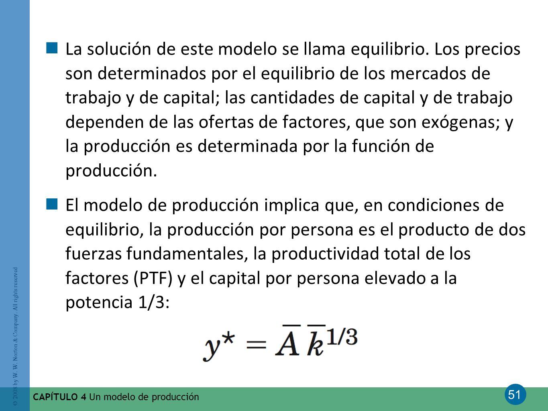 51 © 2008 by W. W. Norton & Company. All rights reserved CAPÍTULO 4 Un modelo de producción La solución de este modelo se llama equilibrio. Los precio