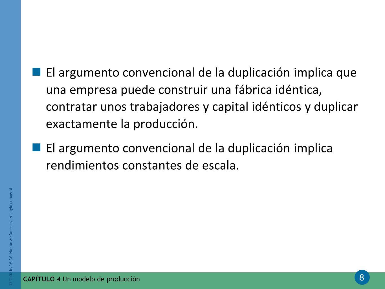 8 © 2008 by W. W. Norton & Company. All rights reserved CAPÍTULO 4 Un modelo de producción El argumento convencional de la duplicación implica que una