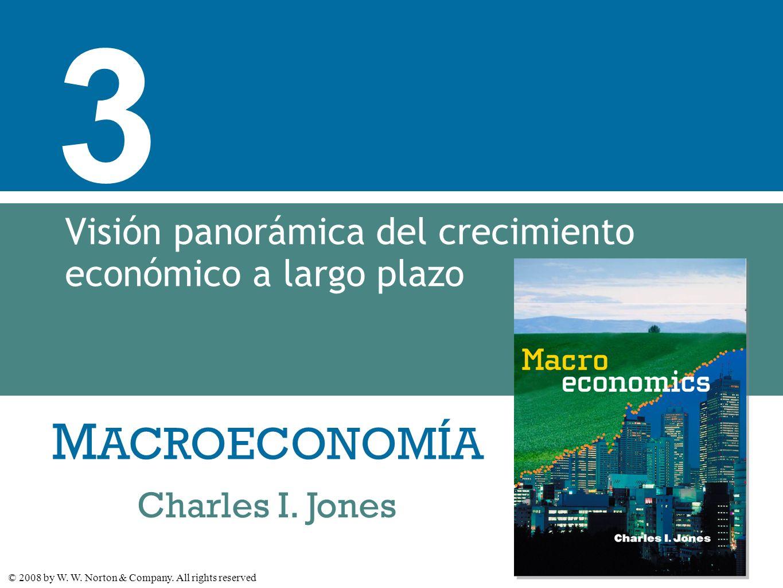 M ACROECONOMÍA © 2008 by W. W. Norton & Company. All rights reserved Charles I. Jones 3 Visión panorámica del crecimiento económico a largo plazo