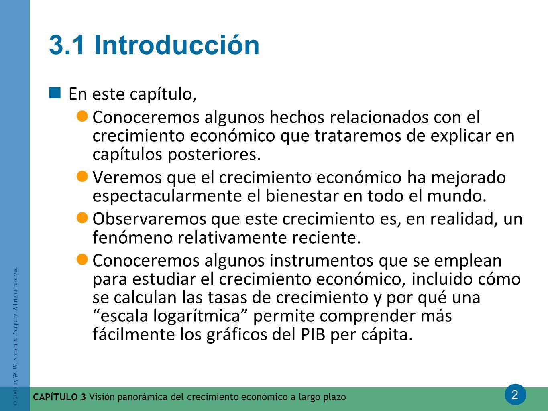 2 © 2008 by W. W. Norton & Company. All rights reserved CAPÍTULO 3 Visión panorámica del crecimiento económico a largo plazo 3.1 Introducción En este