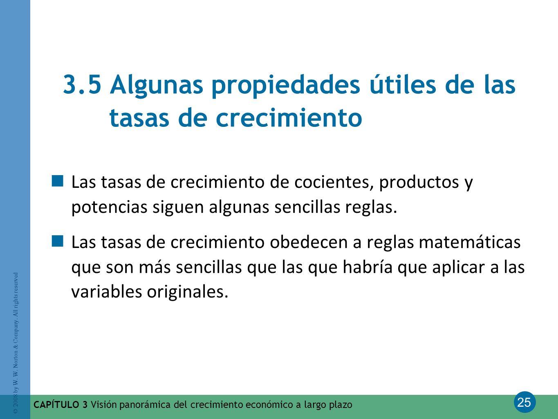 25 © 2008 by W. W. Norton & Company. All rights reserved CAPÍTULO 3 Visión panorámica del crecimiento económico a largo plazo 3.5 Algunas propiedades